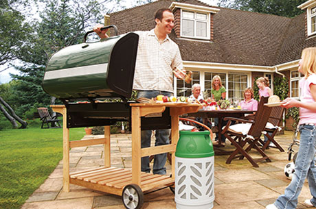 family barbecue using gaslight cylinder