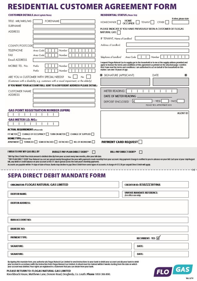 Residential Customer Agreement Form